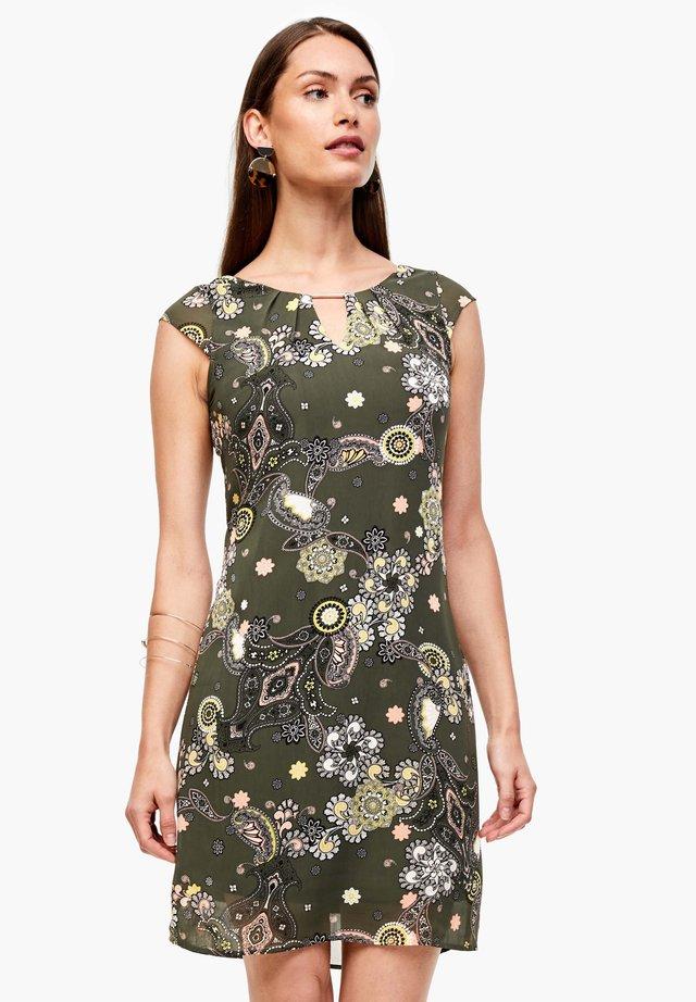Korte jurk - khaki ornamental print
