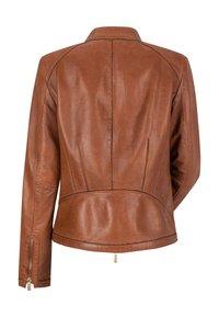 Milestone - LEDERJACKE - Leather jacket - dunkel/cognac - 1