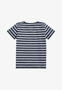 Next - NAVY/WHITE SHORT SLEEVE STRIPED T-SHIRT (3MTHS-7YRS) - Print T-shirt - blue - 1