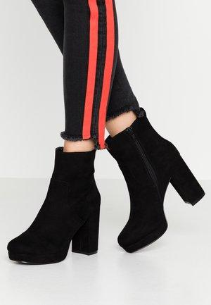 WIDE FIT KEELA HIGH PLATFORM - Kotníková obuv na vysokém podpatku - black