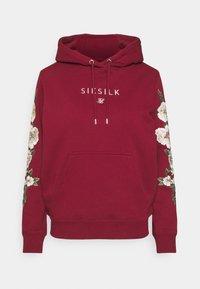 SIKSILK - FLORAL OVERHEAD HOODIE - Hoodie - burgundy - 0