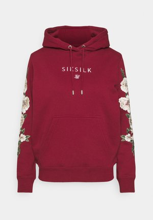 FLORAL OVERHEAD HOODIE - Jersey con capucha - burgundy