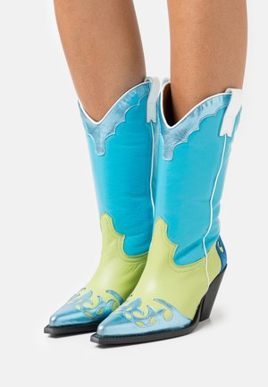 Cowboy/Biker boots - turquesa/charol/eclat