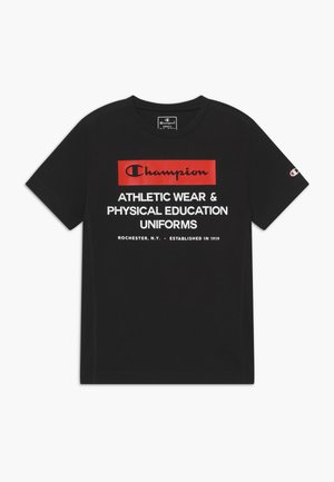 CHAMPION X ZALANDO BOYS PERFORMANCE TEE - T-shirt z nadrukiem - black