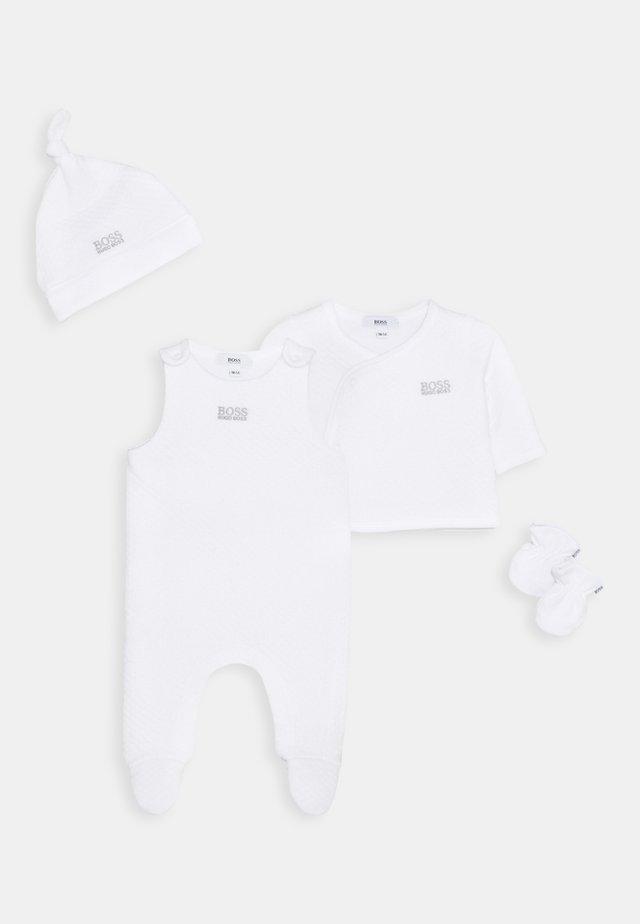 CARDIGAN HAT MITTENS BABY SET UNISEX - Beanie - white