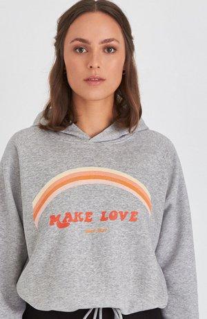 MAKE LOVE - Hoodie - grey
