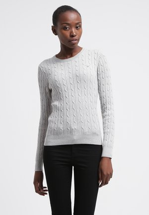CABLE CREW - Strickpullover - light grey melange
