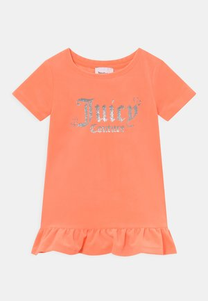BABY HEART ONE FRILL - Jersey dress - summer neon orange