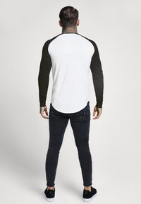 SIKSILK - RAGLAN LONG SLEEVE - Top s dlouhým rukávem - black/white - 2