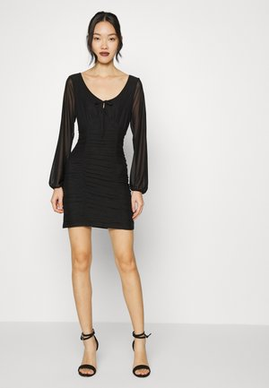 RUCHED SHORT DRESS - Day dress - black