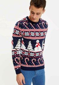 DeFacto - CHRISTMAS - Stickad tröja - navy - 3