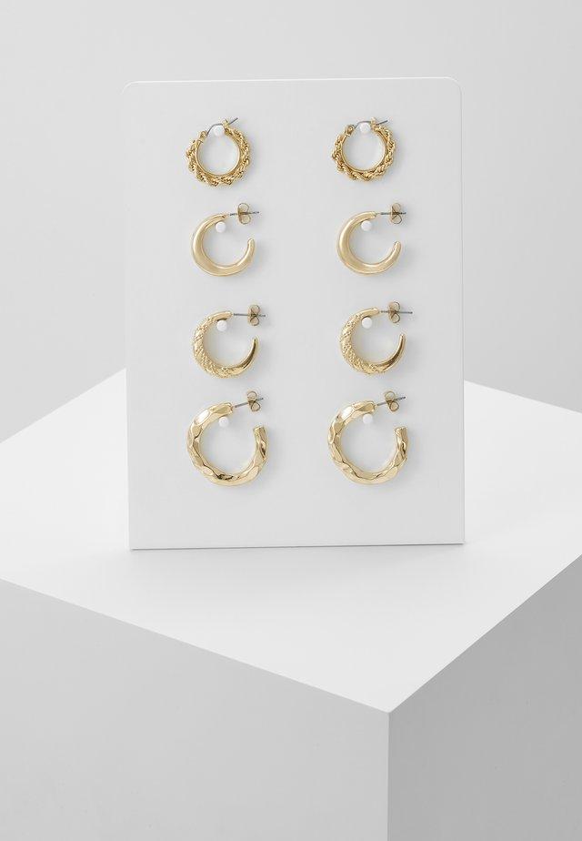 PCSOL HOOP EARRINGS 4 PACK  - Øredobber - gold-coloured