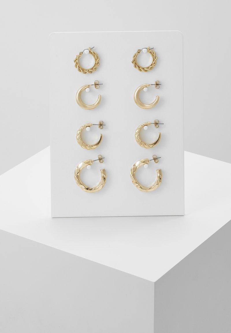 Pieces - PCSOL HOOP EARRINGS 4 PACK  - Earrings - gold-coloured