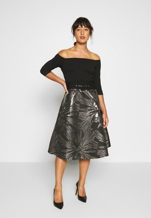JACQUARD BARDOT BELTED MIDI - Cocktail dress / Party dress - black