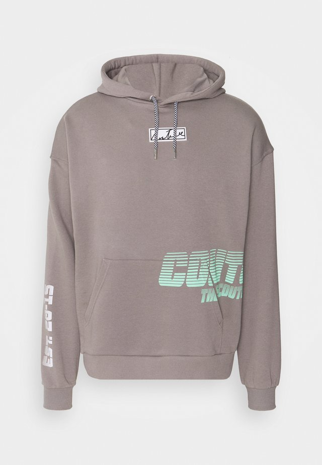 GRAPHIC POCKET HOODIE WITH REMOVEABLE RUBBER BRANDIN - Sweatshirt - grey