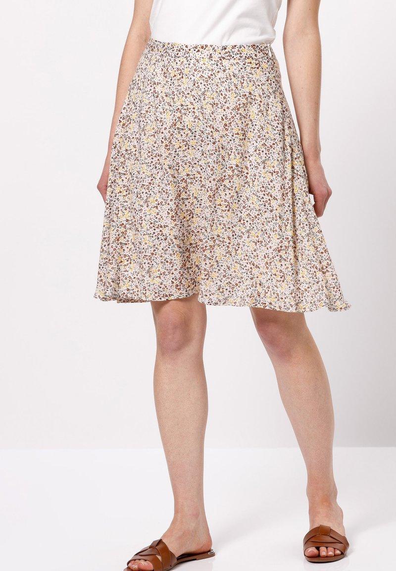 zero - MIT BLUMENDRUCK - A-line skirt - raw cotton