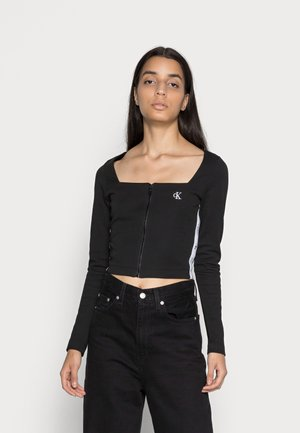 SQUARE NECK ZIP THROUGH - Long sleeved top -  black