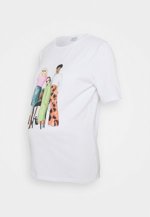 PCMJUNA TEE  - Print T-shirt - bright white