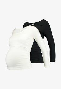 Zalando Essentials Maternity - 2 PACK - Langærmede T-shirts - off-white/black - 4