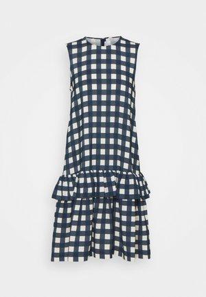 SLEEVELESS FLOUNCE HEM PRINTED FAILLE DRESS - Robe d'été - blue/white
