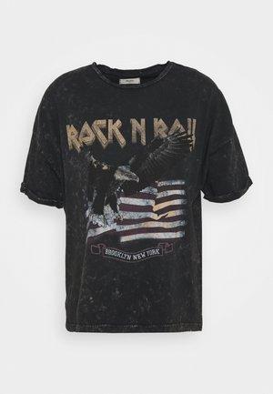 OBJISELIN TEE - Print T-shirt - black
