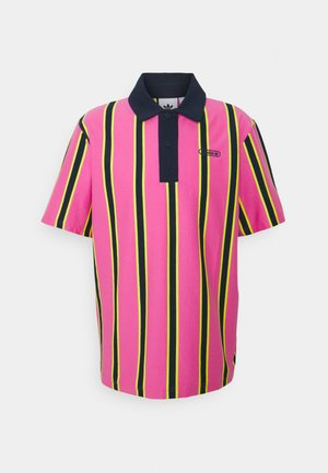 STRIPE UNISEX - Polo - screaming pink/yellow/collegiate navy