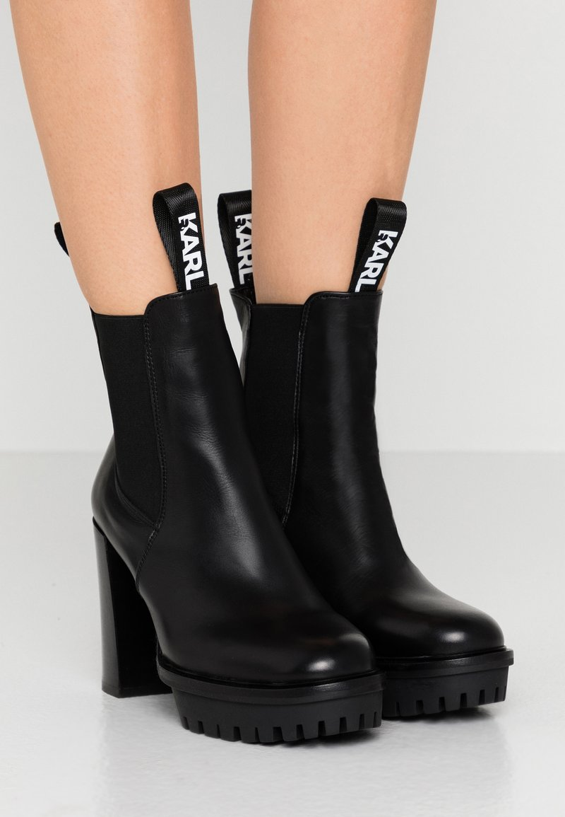 KARL LAGERFELD - VOYAGE GORE BOOT - High heeled ankle boots - black
