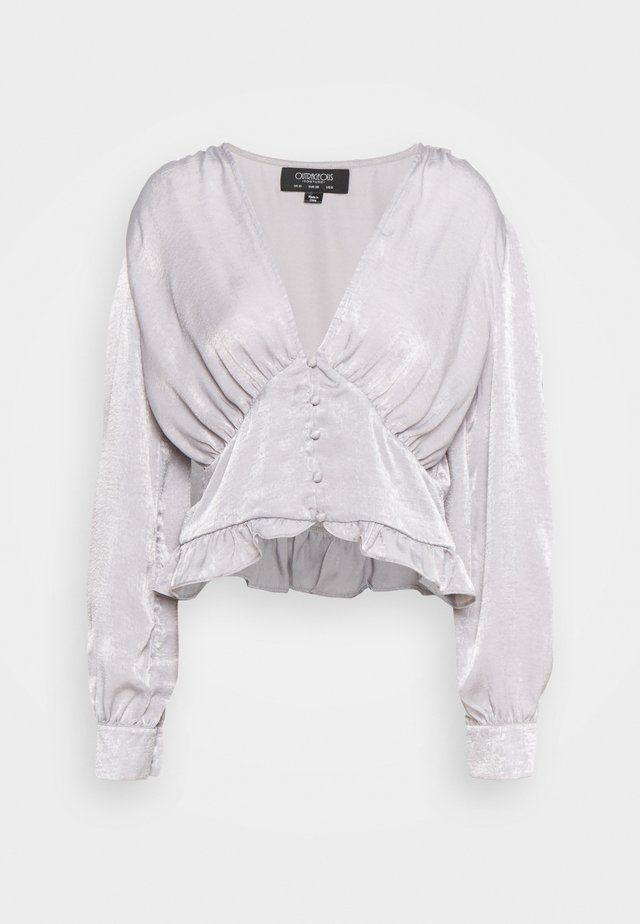 PUFF SLEEVE BLOUSE IN METALLIC - Pusero - silver