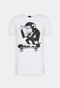 MENS SLIM FIT SKATE MONKEY - Print T-shirt - white