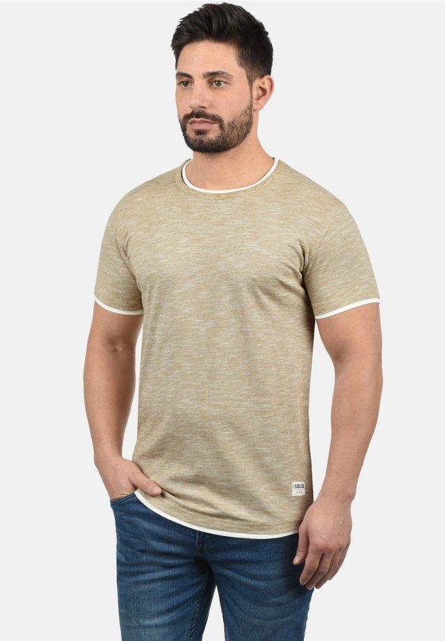 RUNDHALSSHIRT RIGOS - Basic T-shirt - sand