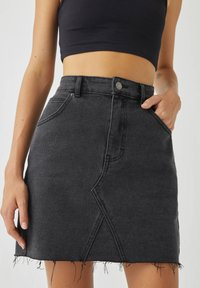 PULL&BEAR - A-line skirt - black denim - 4