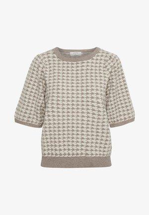 Print T-shirt - silver mink check