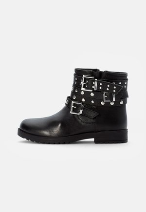 LEATHER BOOTIES - Cowboy/biker ankle boot - black