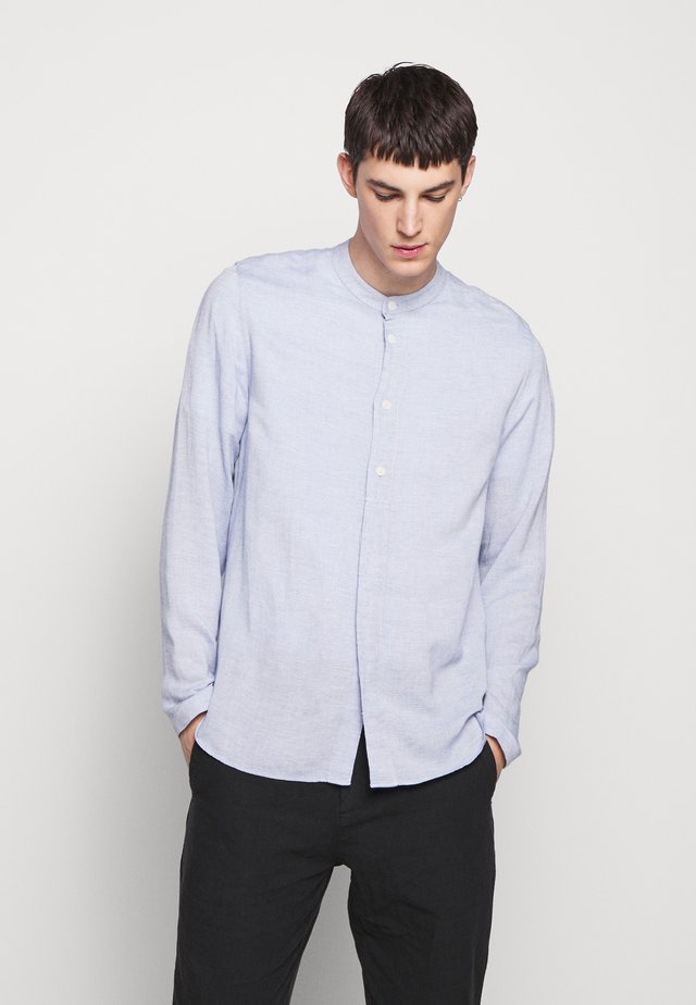 HALF PLACKET GRANDAD - Shirt - blue slub