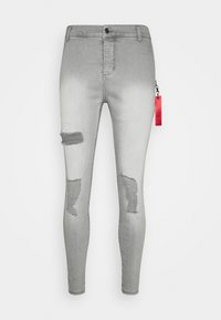 SIKSILK - DISTRESSED  WITH ZIP DETAIL - Jeans Skinny Fit - grey - 3