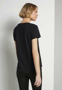 TOM TAILOR DENIM - BASIC EMBRO TEE - Print T-shirt - deep black - 2