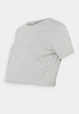 PCMRINA CROP  - T-shirts - light grey melange