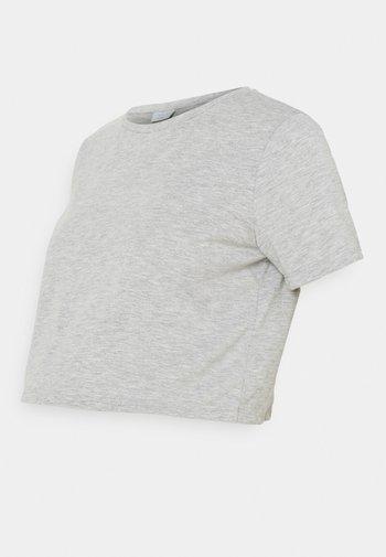 PCMRINA CROP  - Basic T-shirt - light grey melange