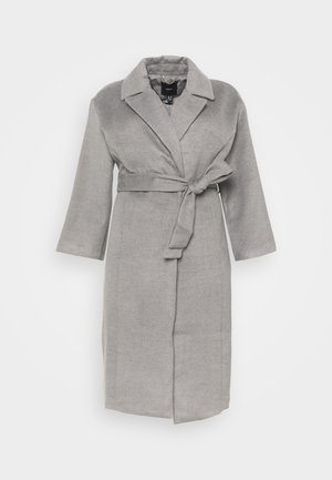 BELTED WRAP COLLAR COAT - Classic coat - grey