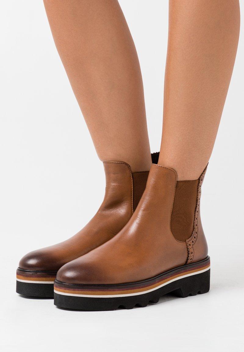MAHONY - CELIN - Platform ankle boots - cognac