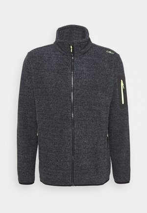 MAN JACKET - Fleecová bunda - antracite/grey/yellow fluo