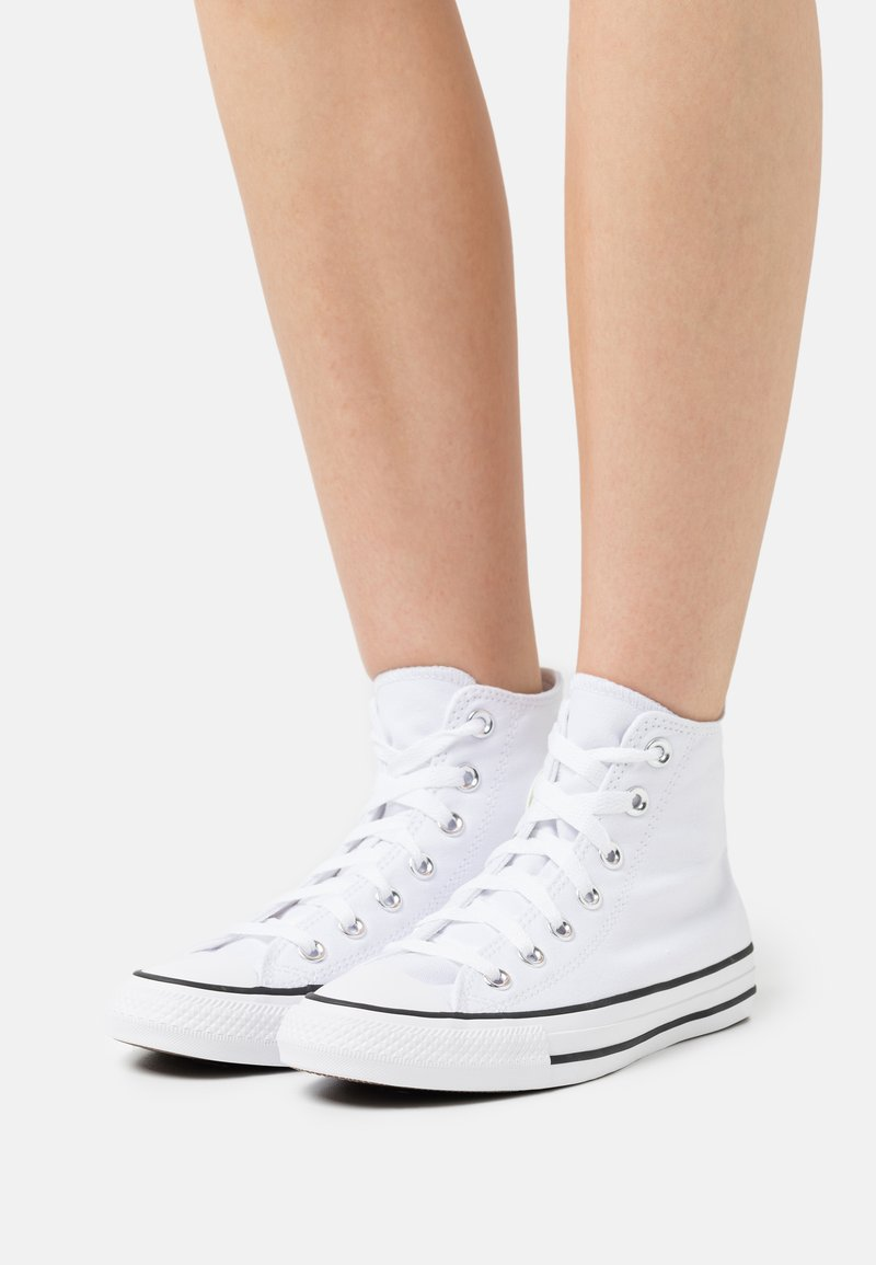 Converse - CHUCK TAYLOR ALL STAR PATCH - High-top trainers - white/spring green/black