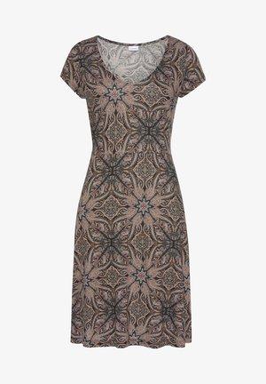 Day dress - braun-bedruckt