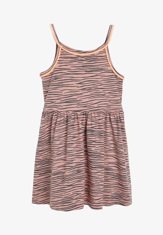 ANIMAL STRAPPY DRESS (3-16YRS) - Jerseyjurk - pink