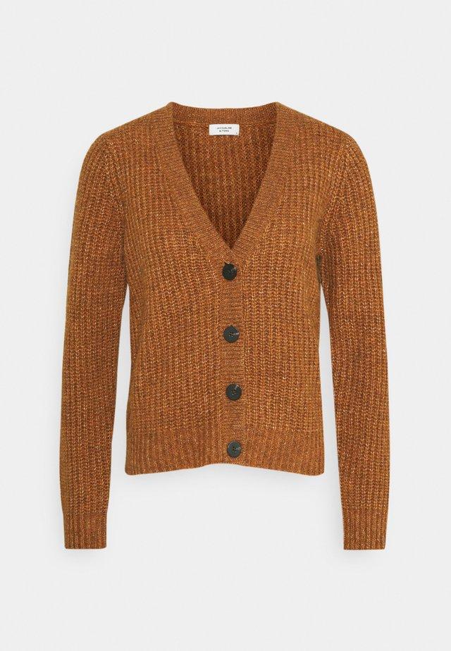Kardigan - leather brown melange