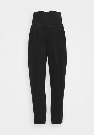 HIGH WAISTED CORSET BALLOON - Relaxed fit jeans - black
