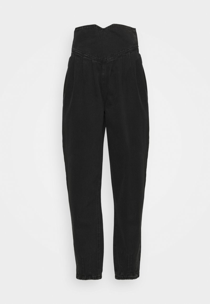 Missguided Tall - HIGH WAISTED CORSET BALLOON - Relaxed fit jeans - black