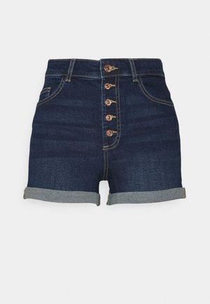 ONLHUSH BUTTON TALL - Denim shorts - dark blue denim
