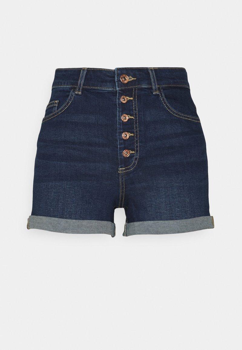 ONLY Tall - ONLHUSH BUTTON TALL - Denim shorts - dark blue denim