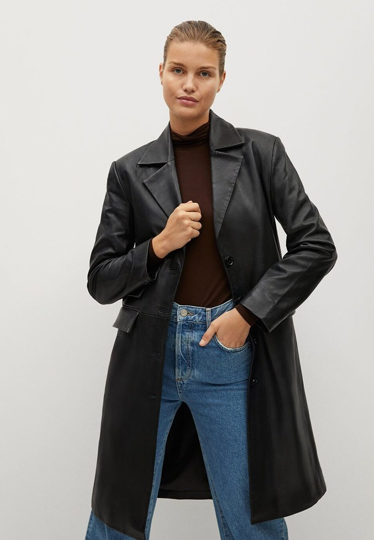 Mango - Leather jacket - schwarz